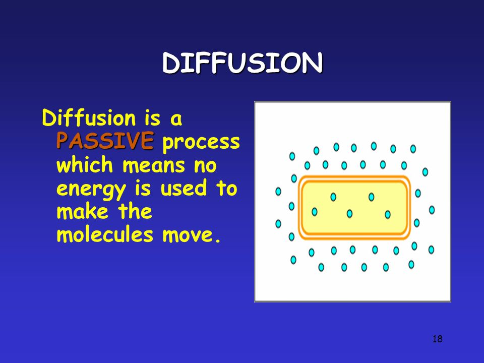 DIFFUSION Diffusion is a PASSIVE process which means no energy is used to make the molecules move.