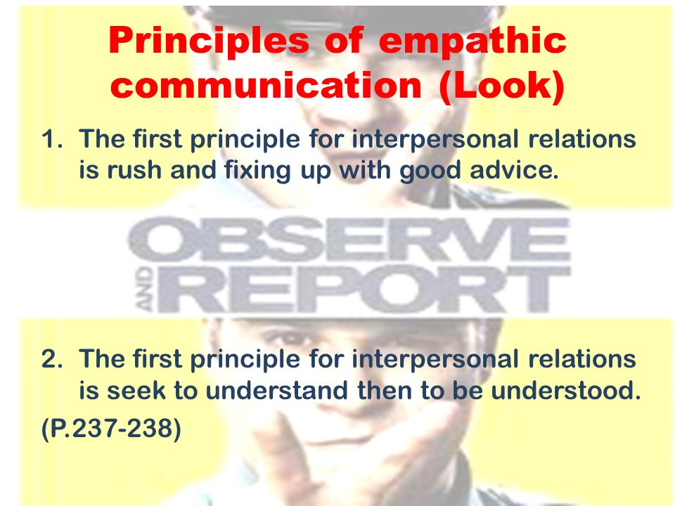 Principles of empathic communication (Look)