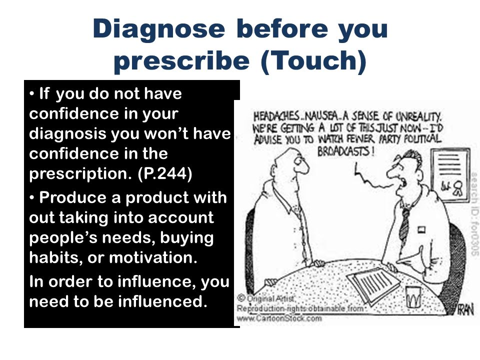 Diagnose before you prescribe (Touch)