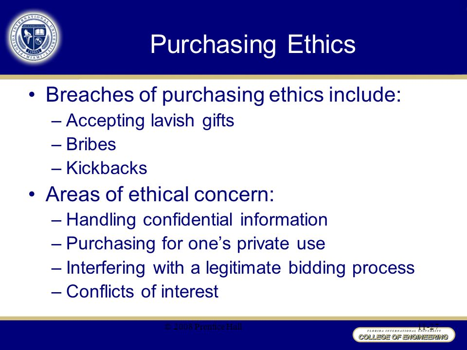 procurement ethics Officers involved in procurement for the public entities are supposed to sign and  adhere to the code of ethics this code of ethics should be.