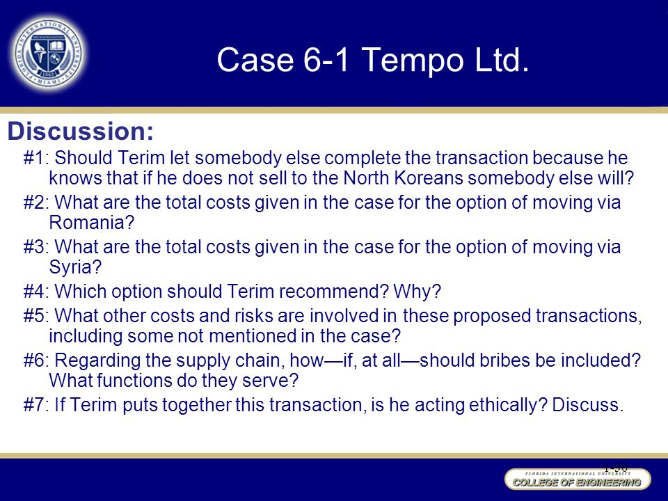 tempo ltd case This study is about faith terim accepting a barter exchange from north korea,  but the issue is he's unsure about the process of the transaction.