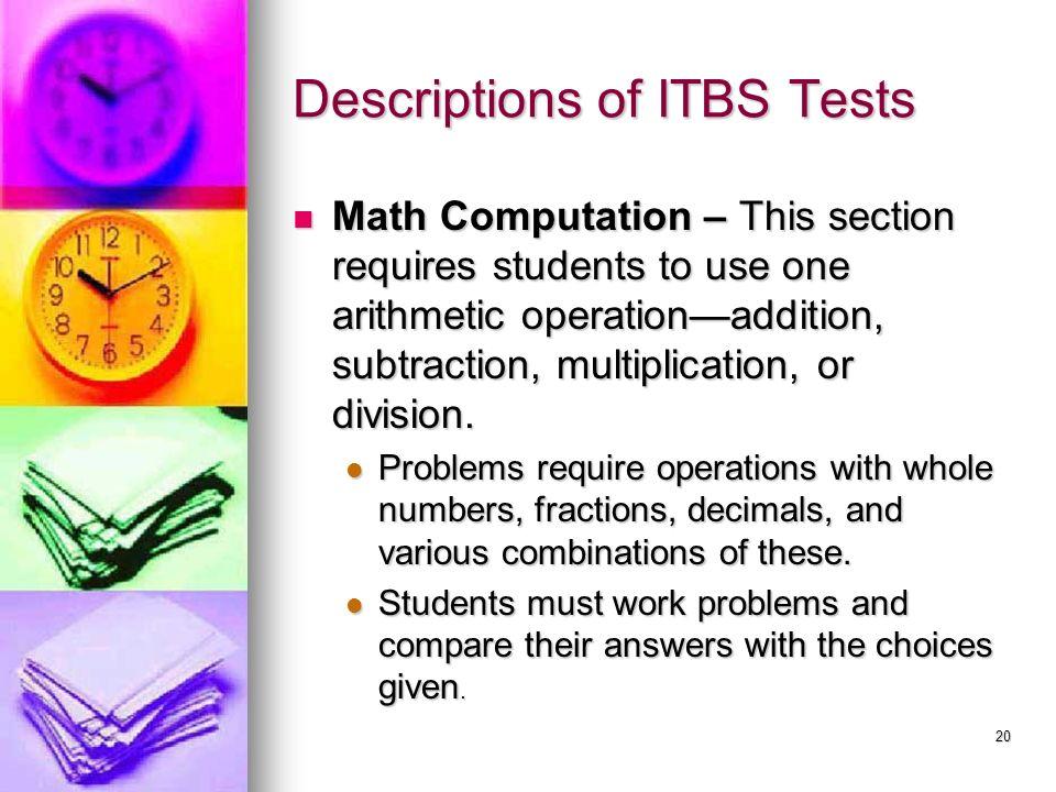 Descriptions of ITBS Tests