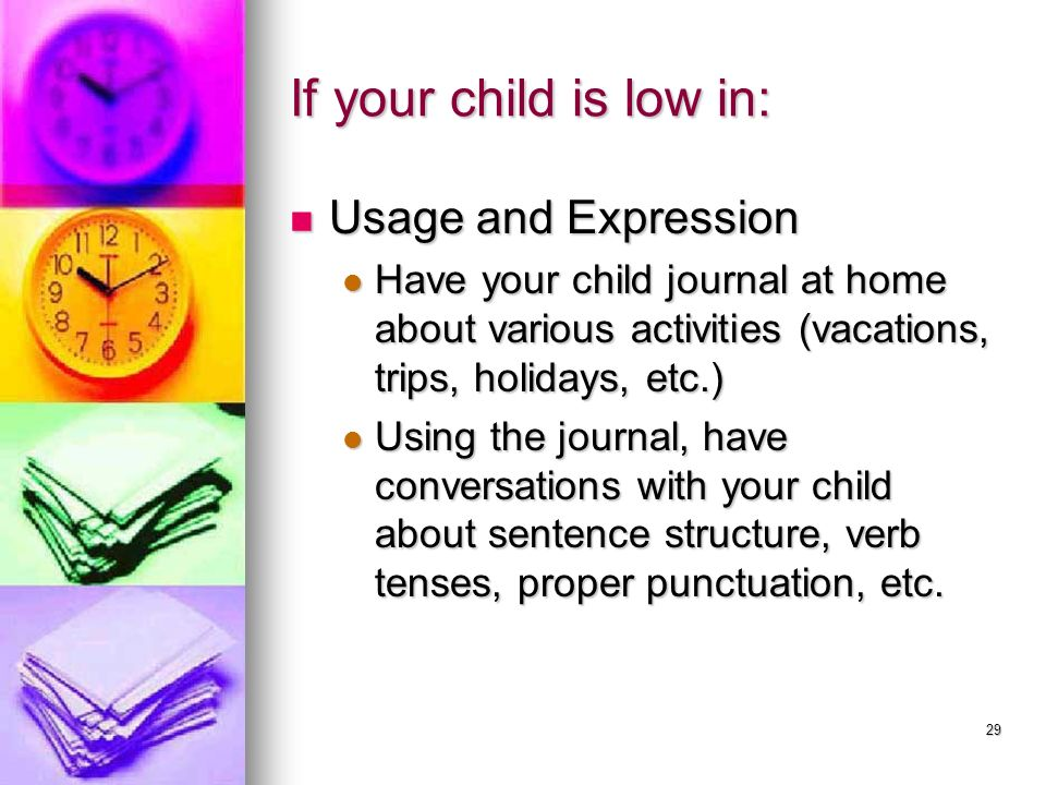If your child is low in: Usage and Expression