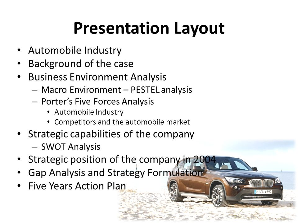automobile sector analysis five forces and swot Suppliers to the auto industry include firms such as lear corporation who   the purpose of five forces analysis is to identify how much profit potential exists.