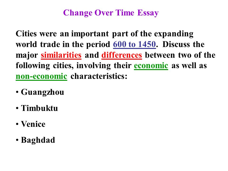 Change over time essay example