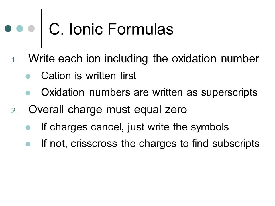 C. Ionic Formulas Write each ion including the oxidation number