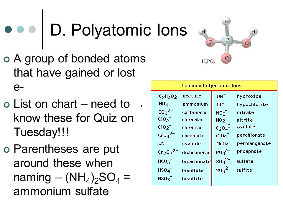 D. Polyatomic Ions A group of bonded atoms that have gained or lost e-