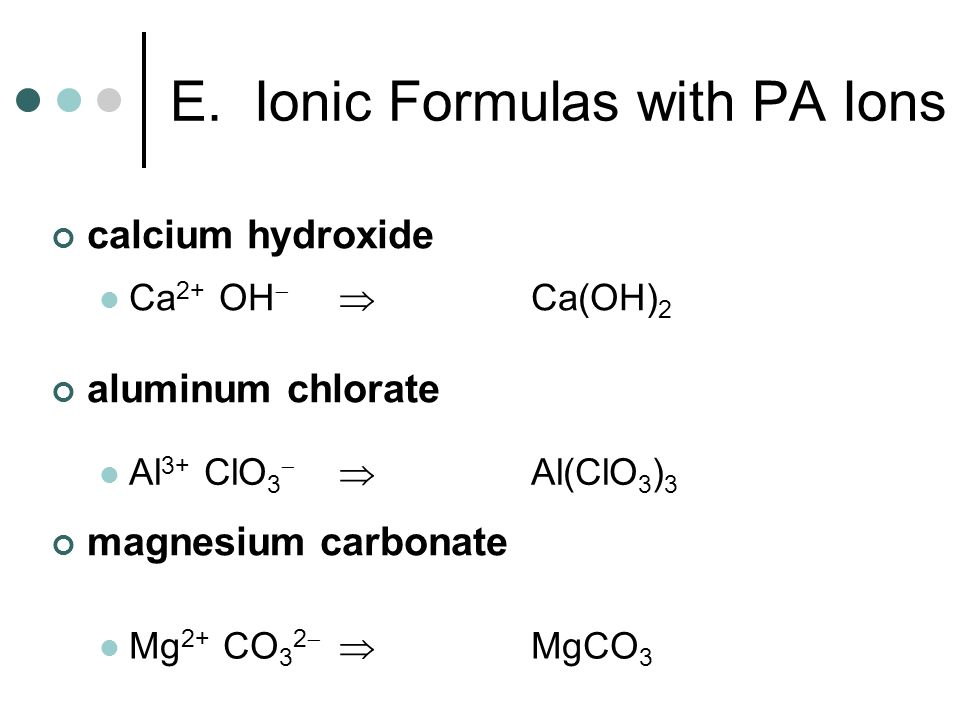 E. Ionic Formulas with PA Ions