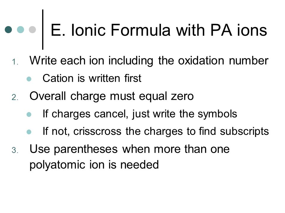 E. Ionic Formula with PA ions