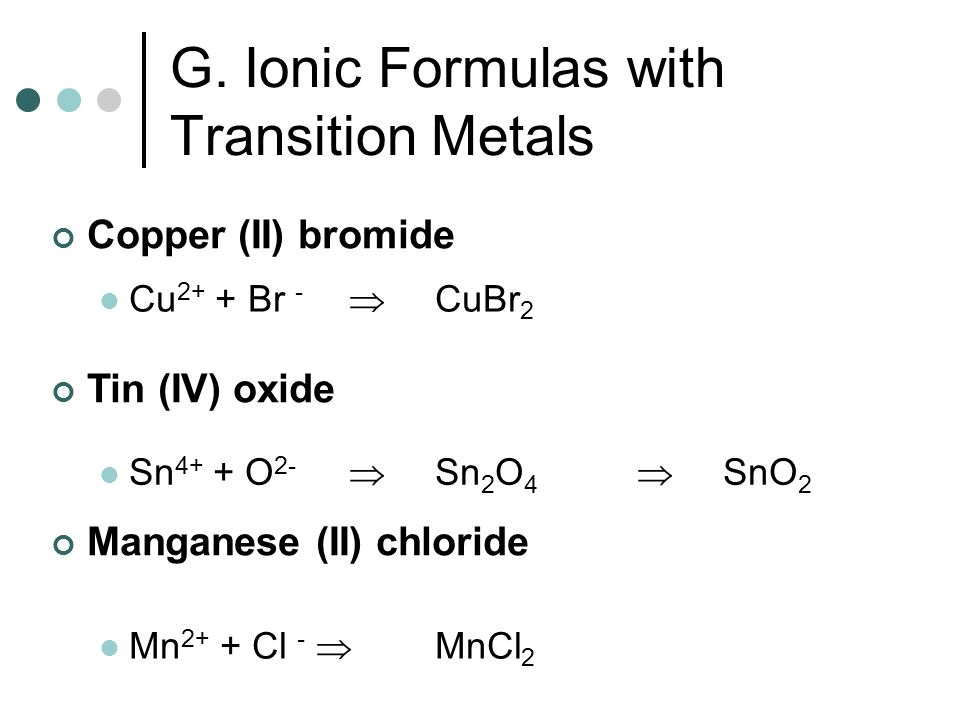 G. Ionic Formulas with Transition Metals