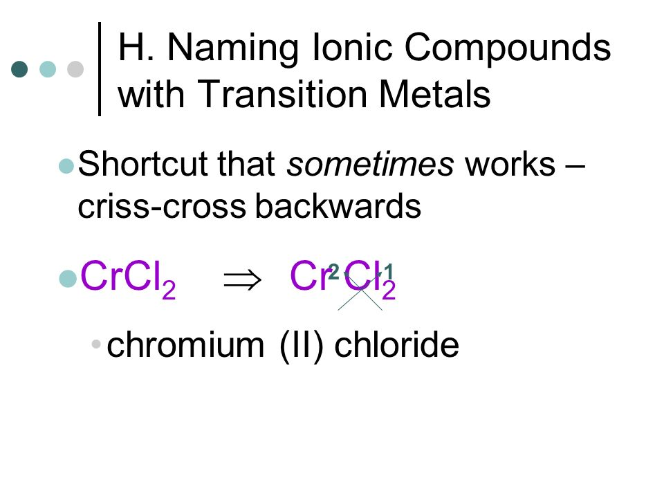 H. Naming Ionic Compounds with Transition Metals