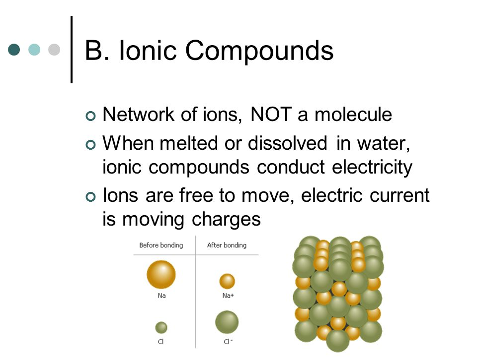 B. Ionic Compounds Network of ions, NOT a molecule