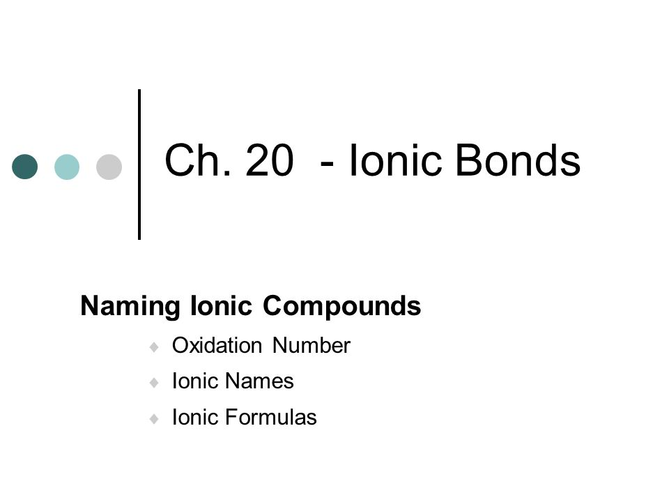 Naming Ionic Compounds Oxidation Number Ionic Names Ionic Formulas