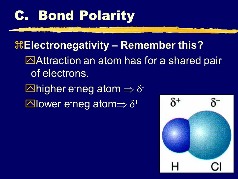 C. Bond Polarity Electronegativity – Remember this
