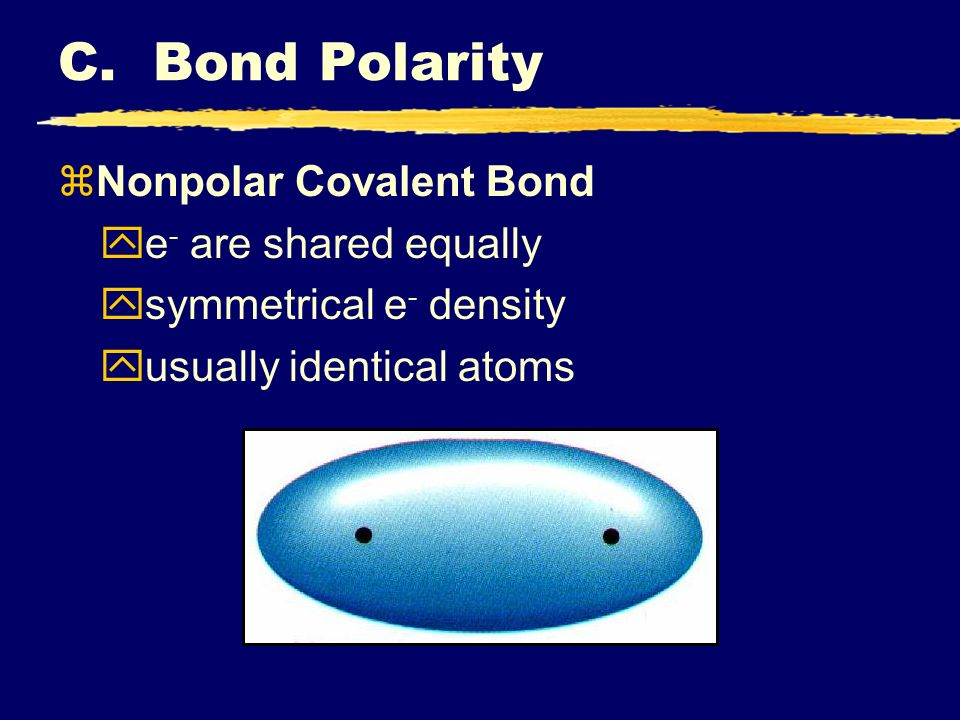 C. Bond Polarity Nonpolar Covalent Bond e- are shared equally