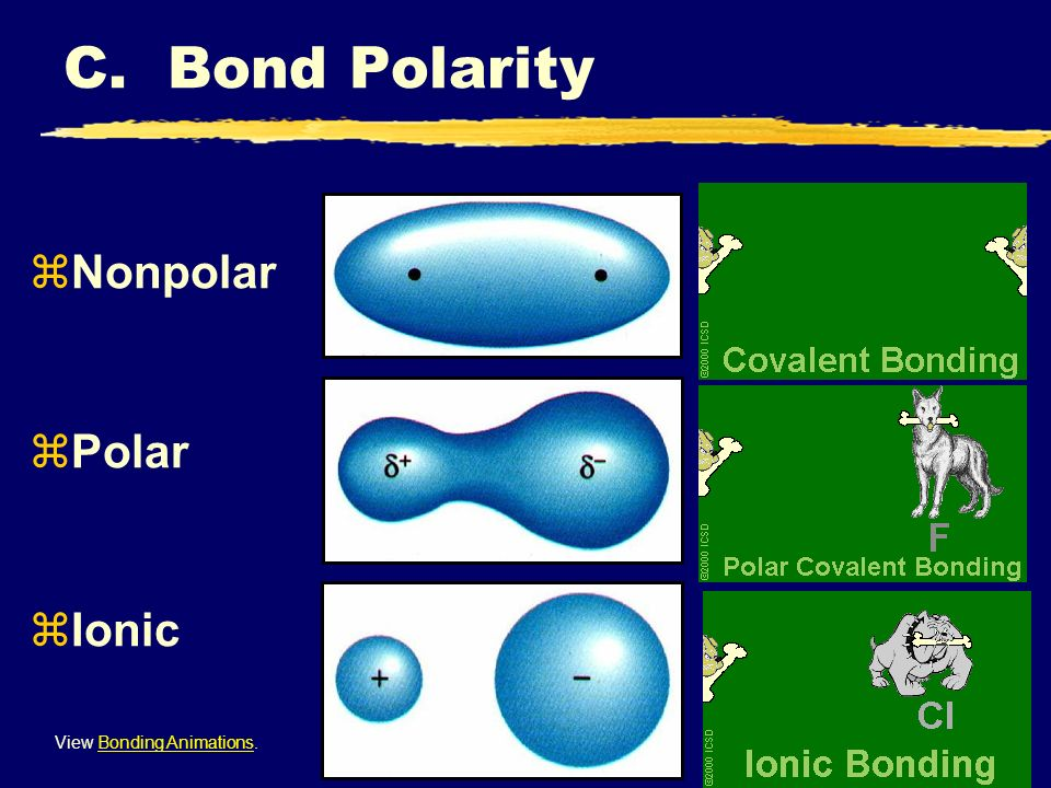 C. Bond Polarity Nonpolar Polar Ionic View Bonding Animations.