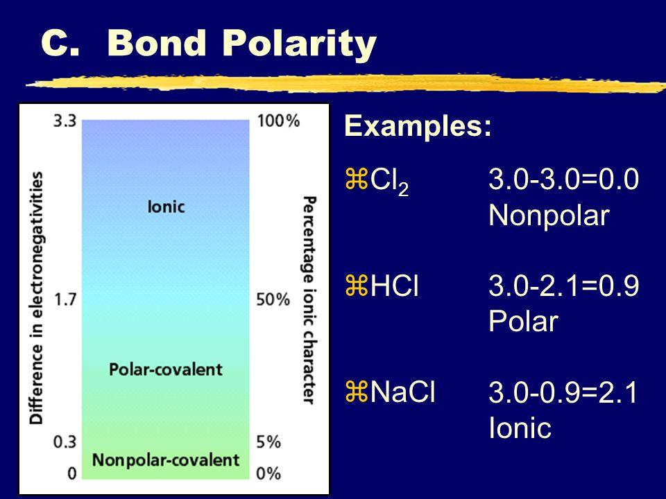C. Bond Polarity Examples: Cl2 HCl 3.0-3.0=0.0 Nonpolar 3.0-2.1=0.9