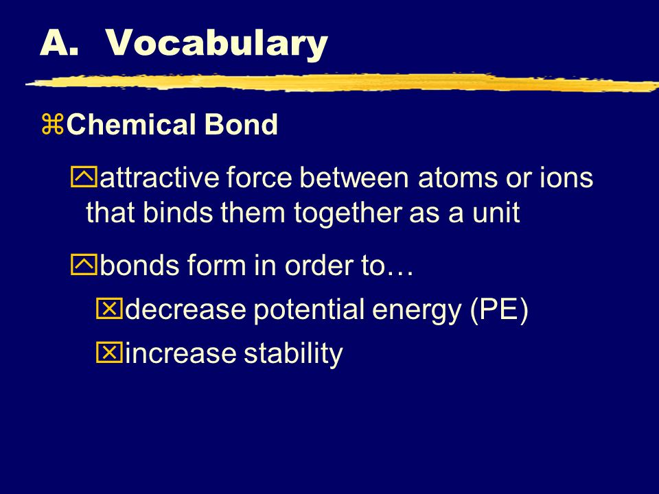 A. Vocabulary Chemical Bond