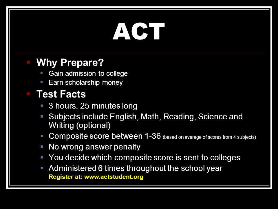 ACT Why Prepare Test Facts 3 hours, 25 minutes long