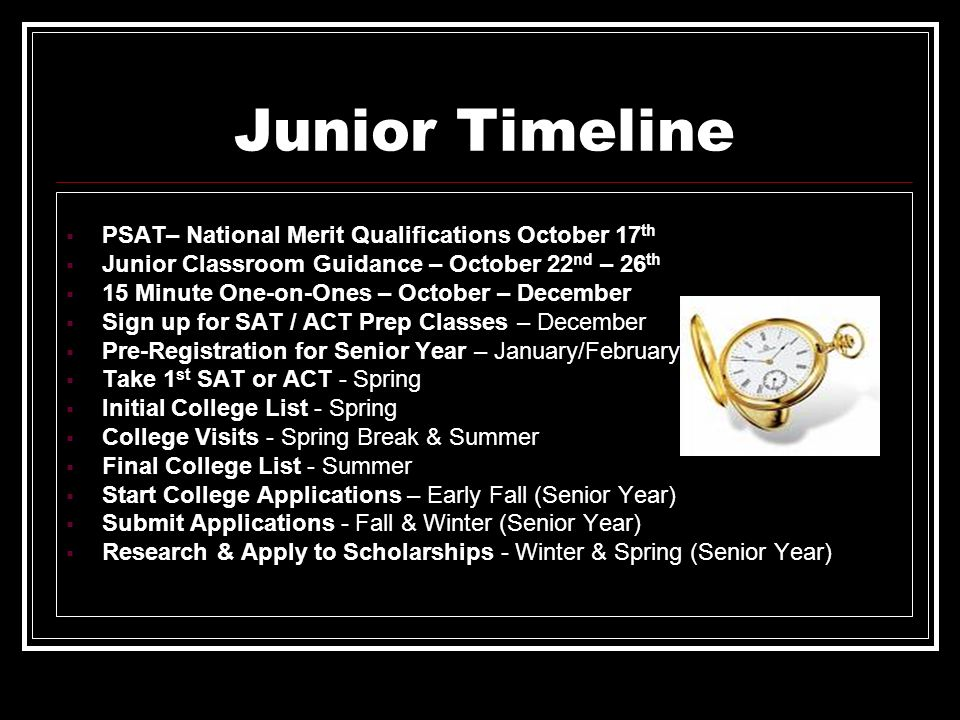 Junior Timeline PSAT– National Merit Qualifications October 17th