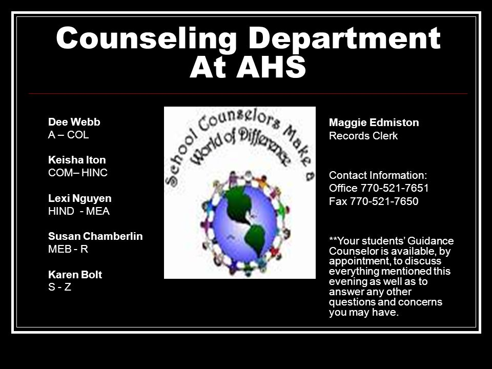 Counseling Department At AHS