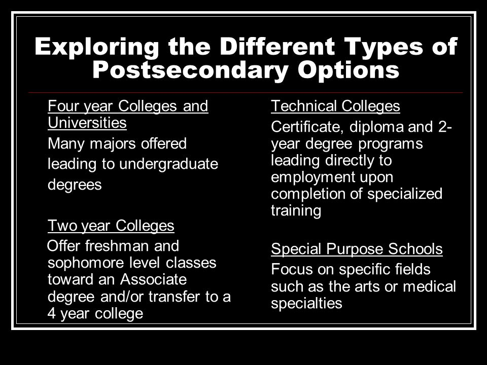 Exploring the Different Types of Postsecondary Options