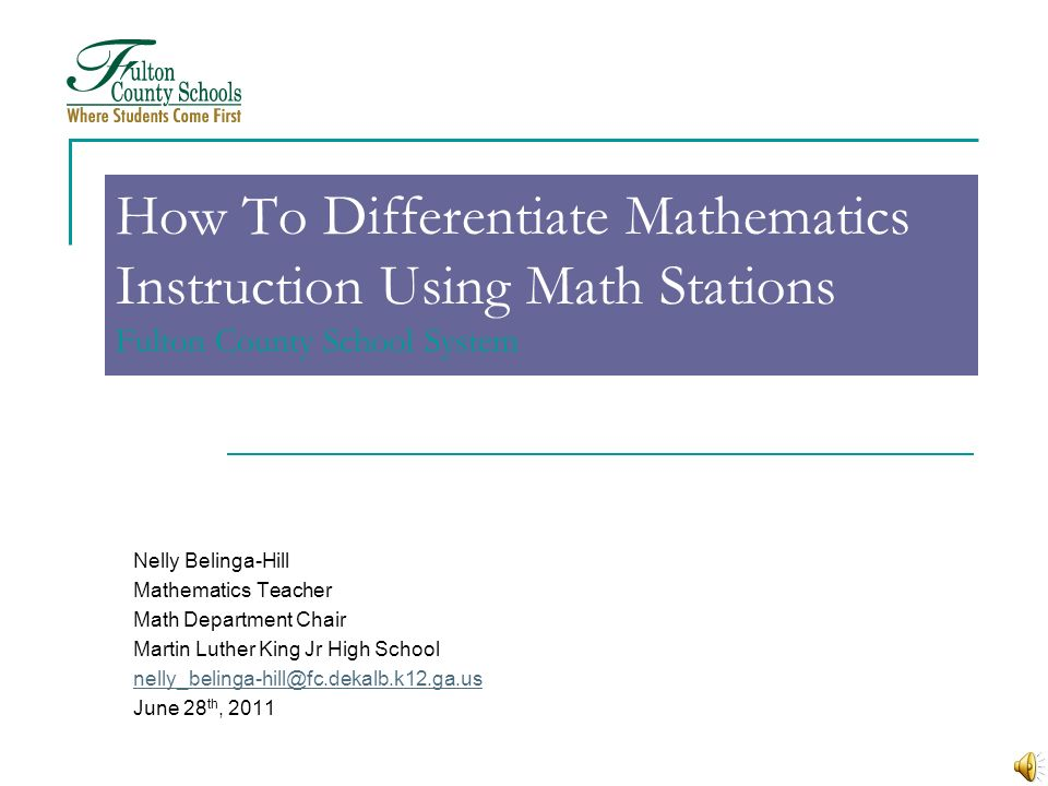 How To Differentiate Mathematics Instruction Using Math Stations Fulton County School System
