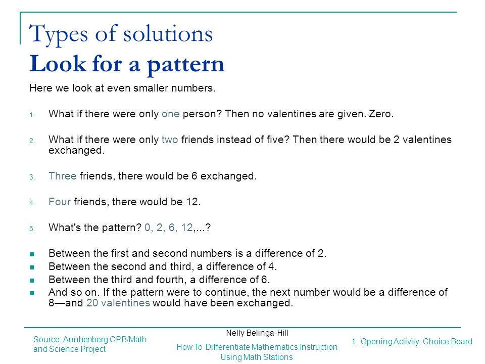 Types of solutions Look for a pattern