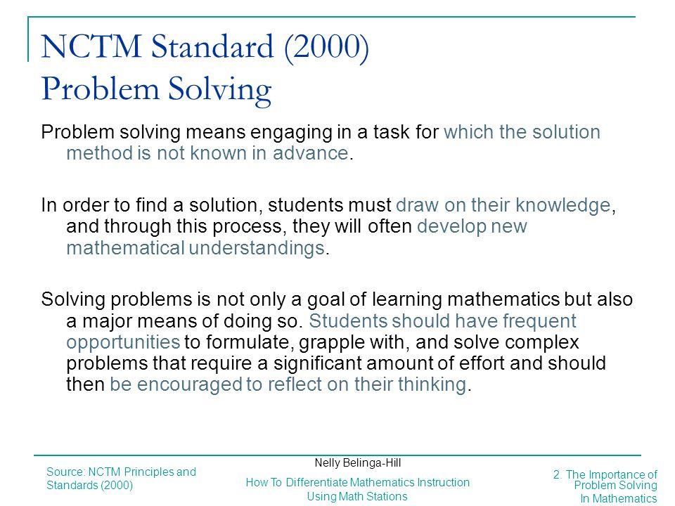 NCTM Standard (2000) Problem Solving