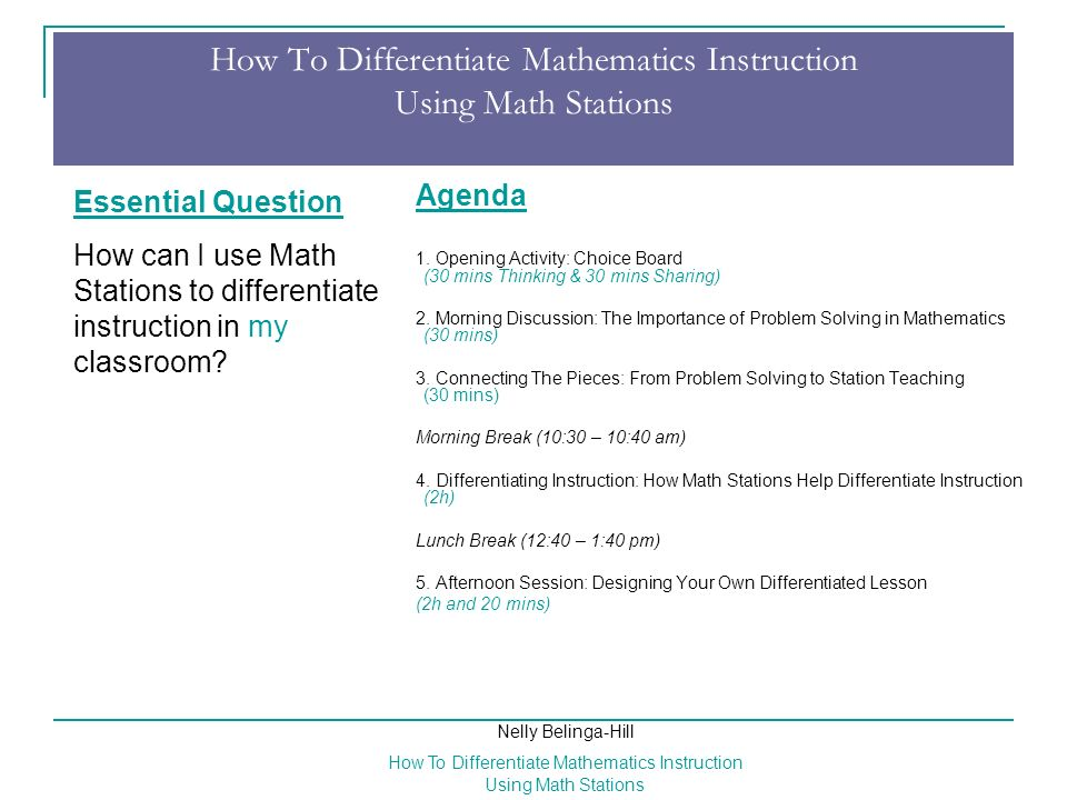 How To Differentiate Mathematics Instruction Using Math Stations
