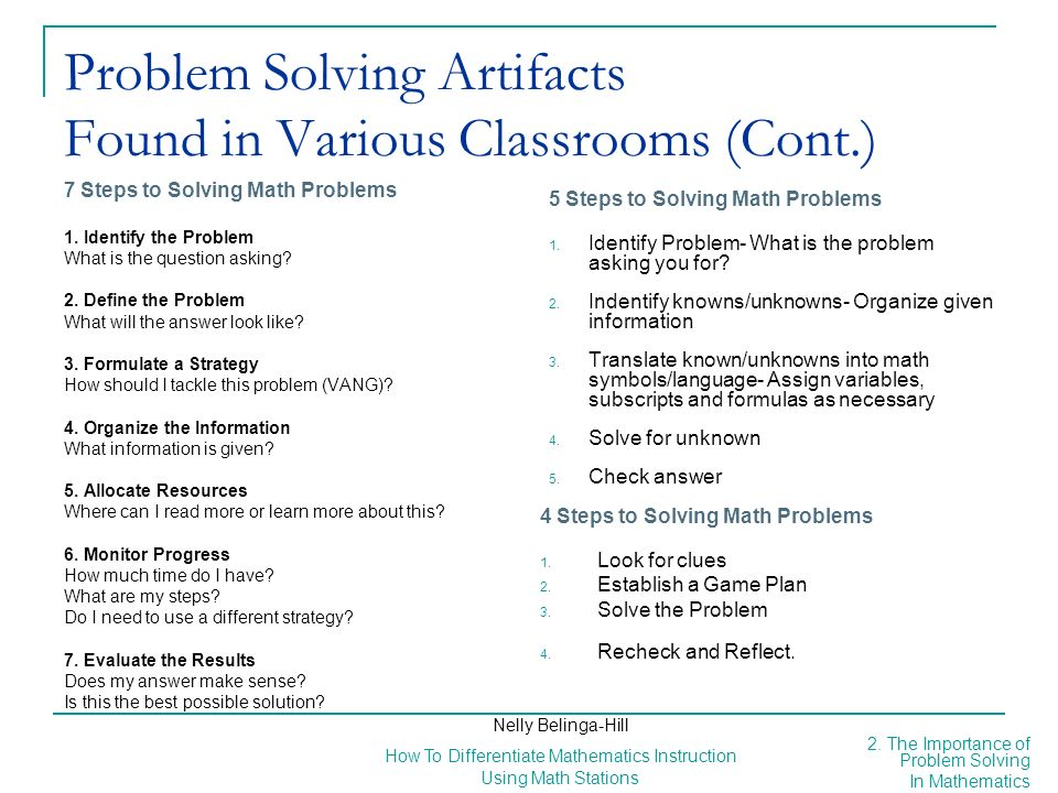 Problem Solving Artifacts Found in Various Classrooms (Cont.)