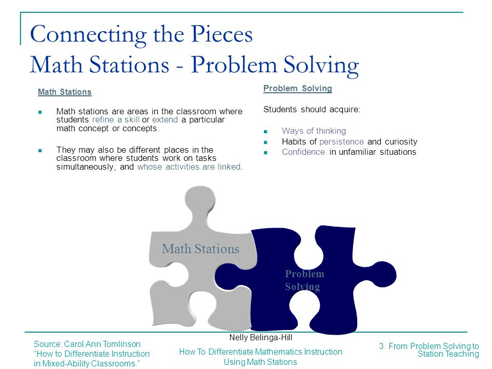 Connecting the Pieces Math Stations - Problem Solving