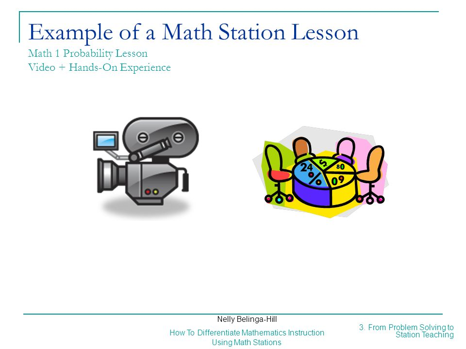 Example of a Math Station Lesson Math 1 Probability Lesson Video + Hands-On Experience