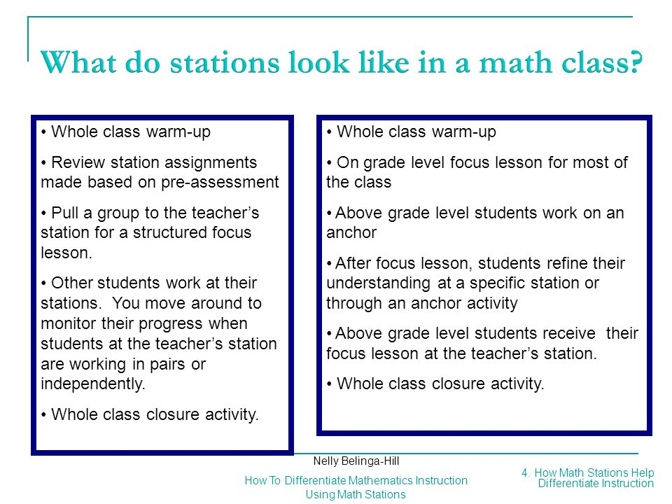 What do stations look like in a math class