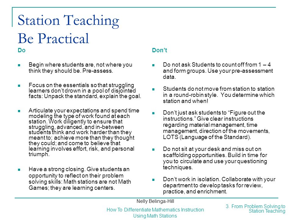 Station Teaching Be Practical