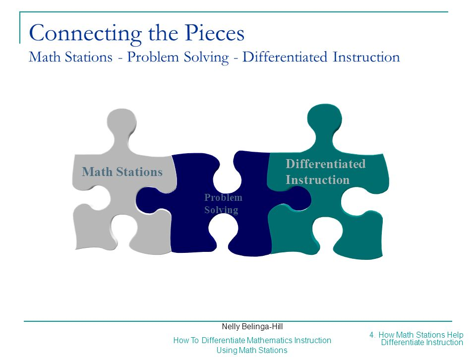 Connecting the Pieces Math Stations - Problem Solving - Differentiated Instruction
