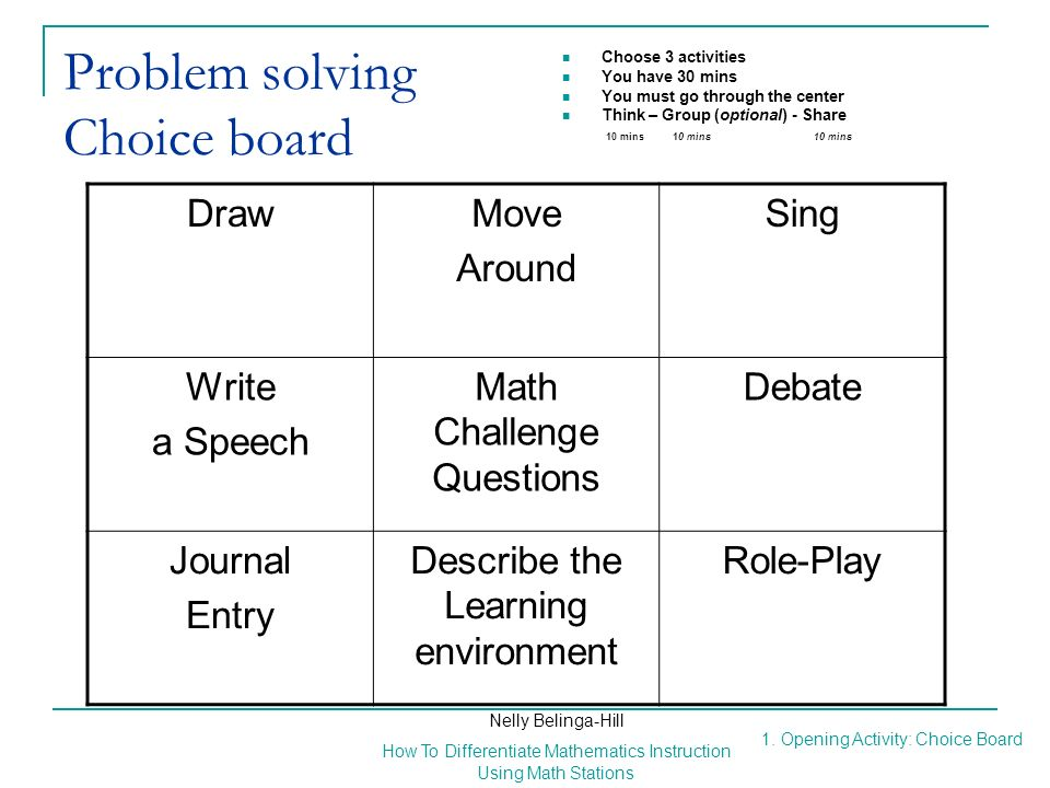 Problem solving Choice board