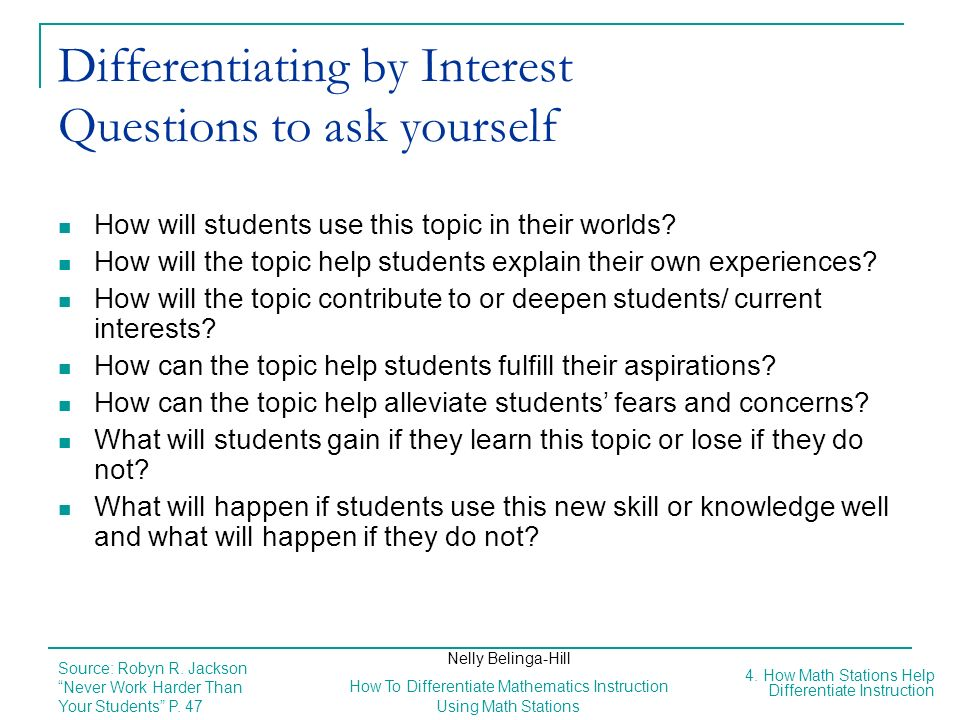 Differentiating by Interest Questions to ask yourself