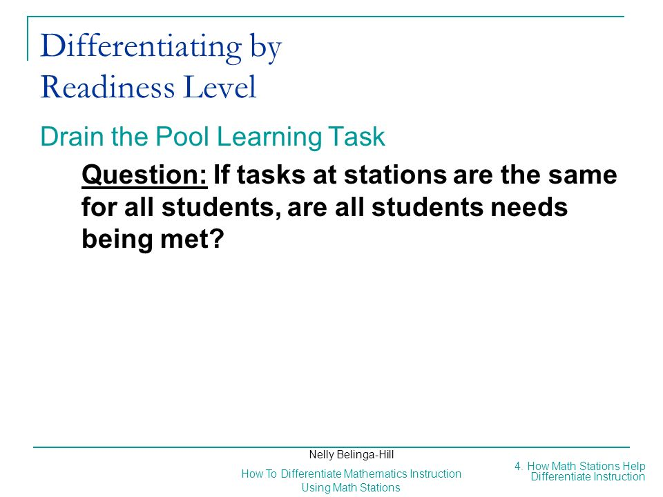 Differentiating by Readiness Level