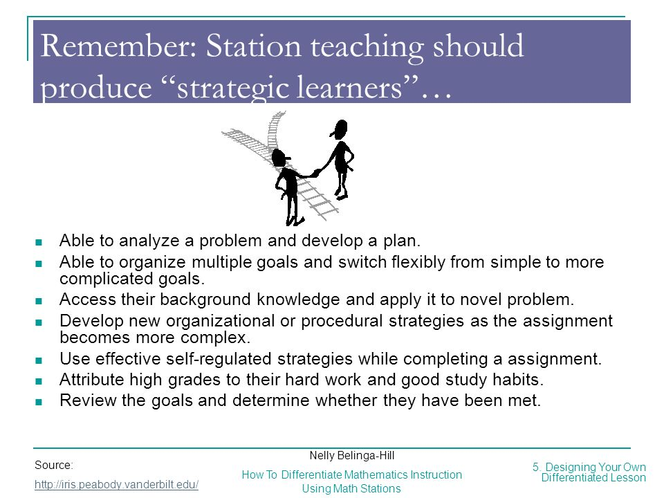 Remember: Station teaching should produce strategic learners …