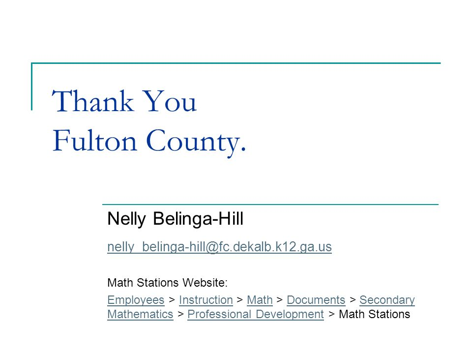 Thank You Fulton County.