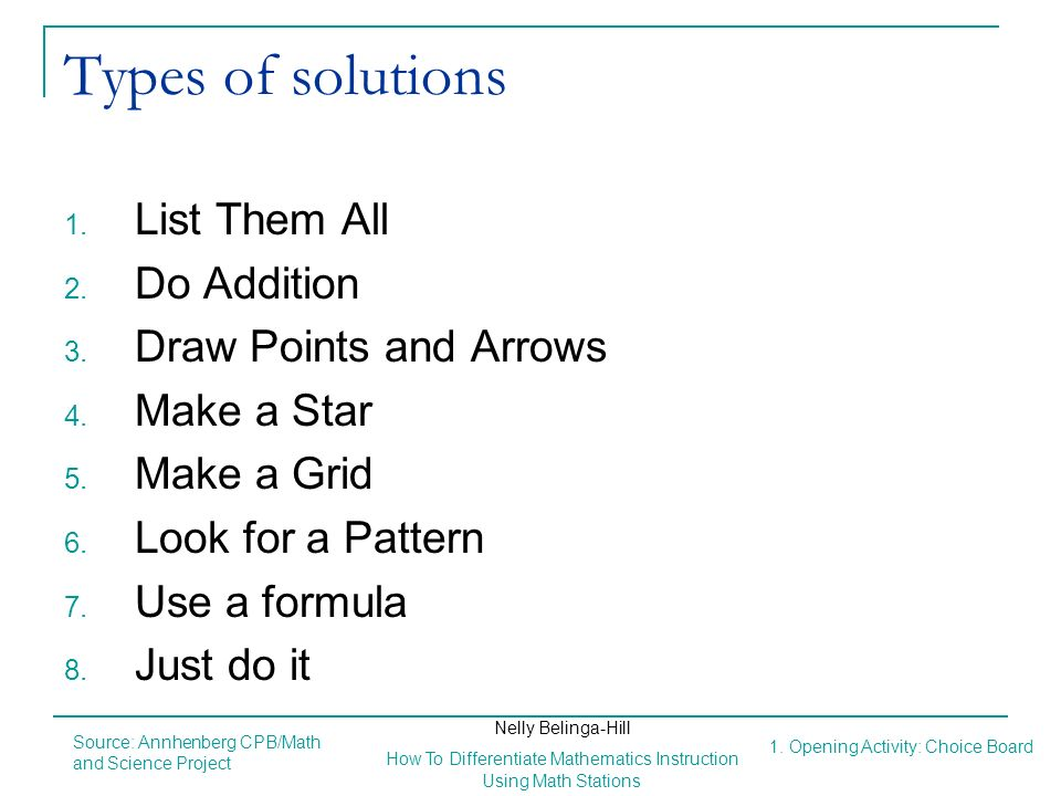 Types of solutions List Them All Do Addition Draw Points and Arrows
