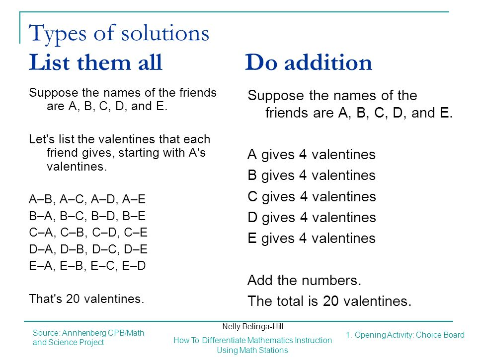 Types of solutions List them all Do addition