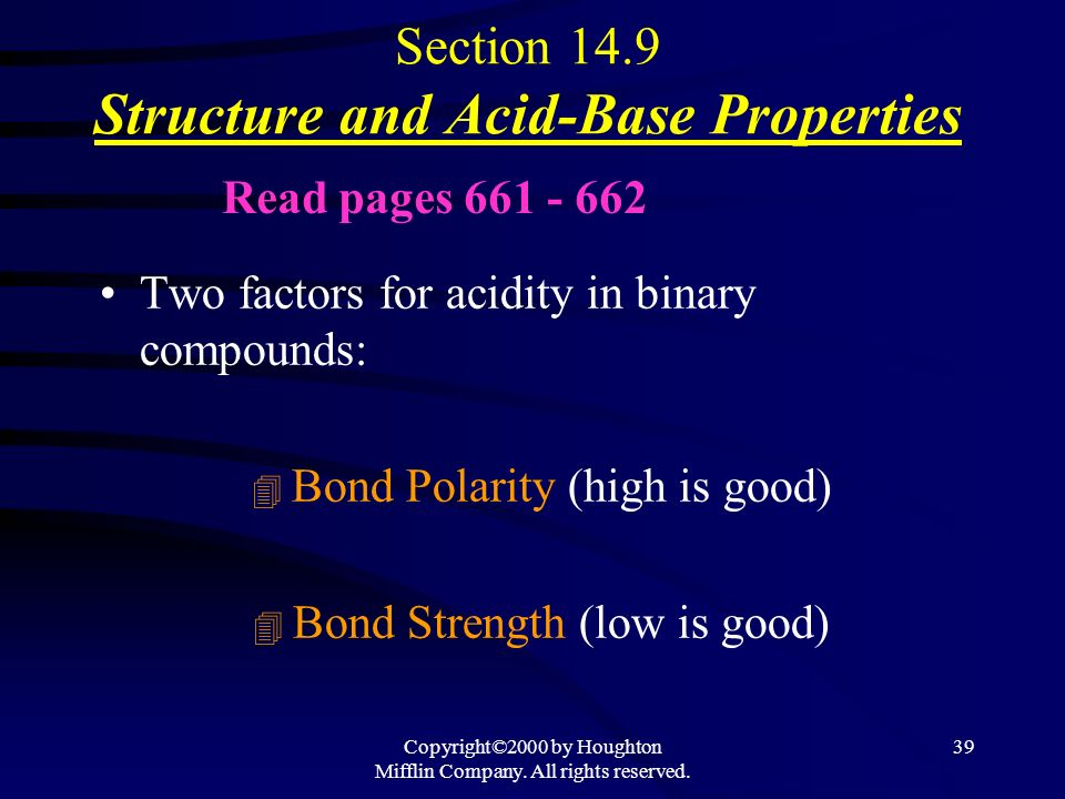 Section 14.9 Structure and Acid-Base Properties