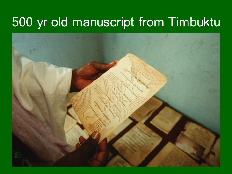 500 yr old manuscript from Timbuktu