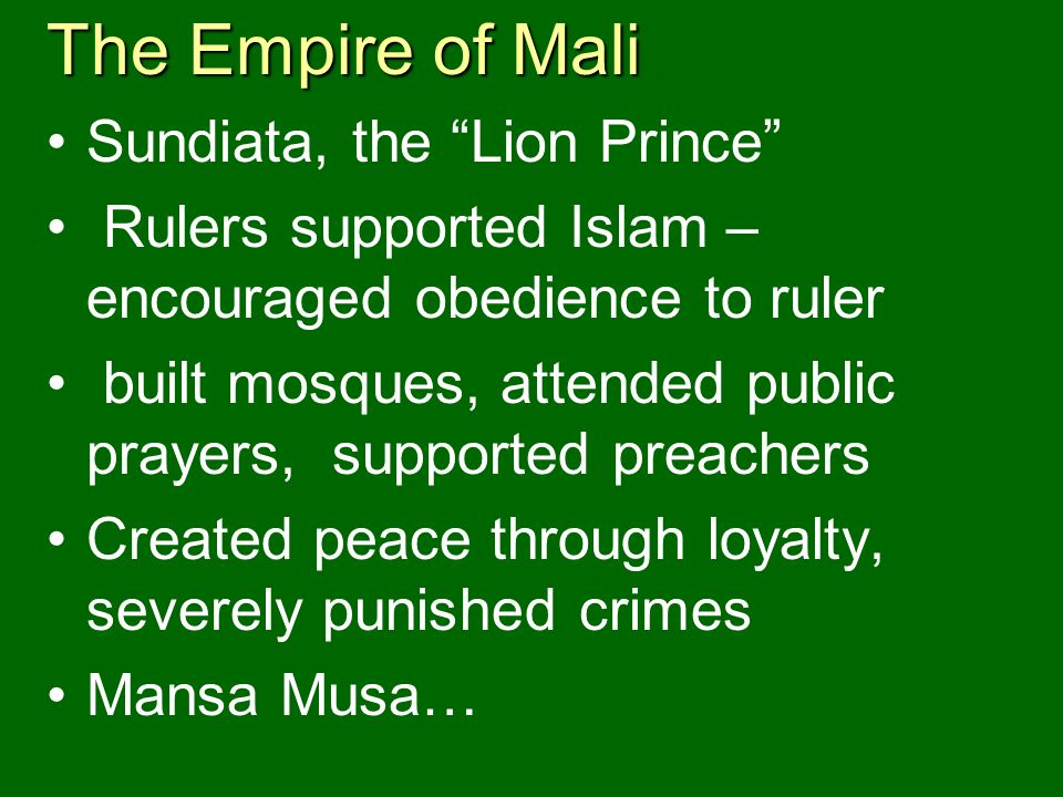 The Empire of Mali Sundiata, the Lion Prince