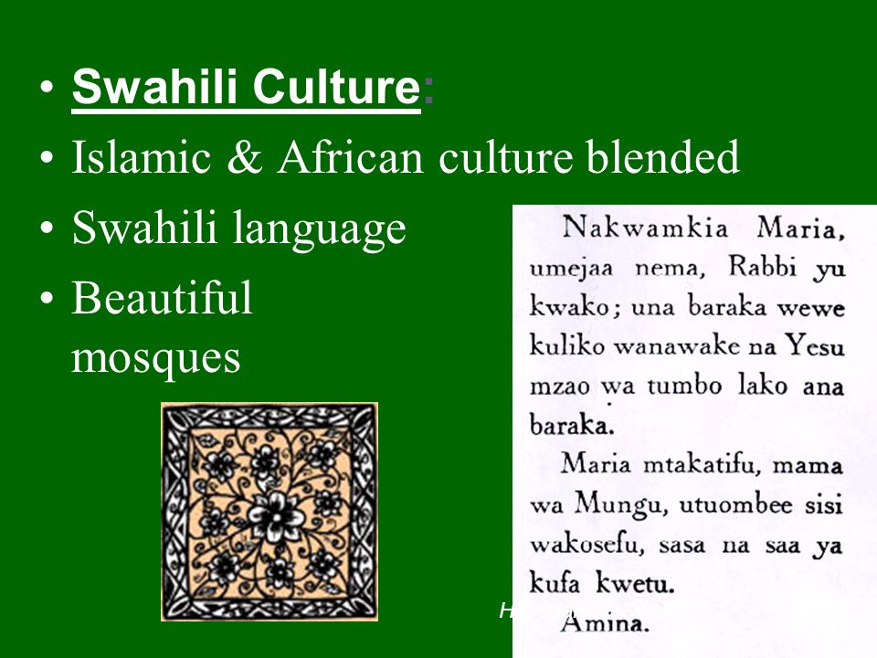 Islamic & African culture blended Swahili language Beautiful mosques