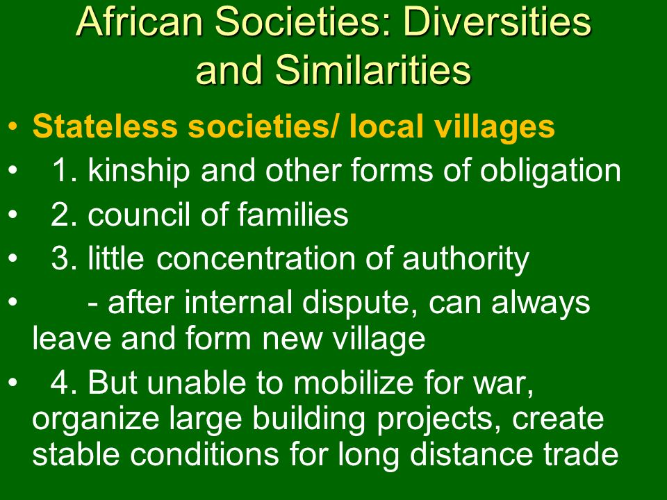 African Societies: Diversities and Similarities