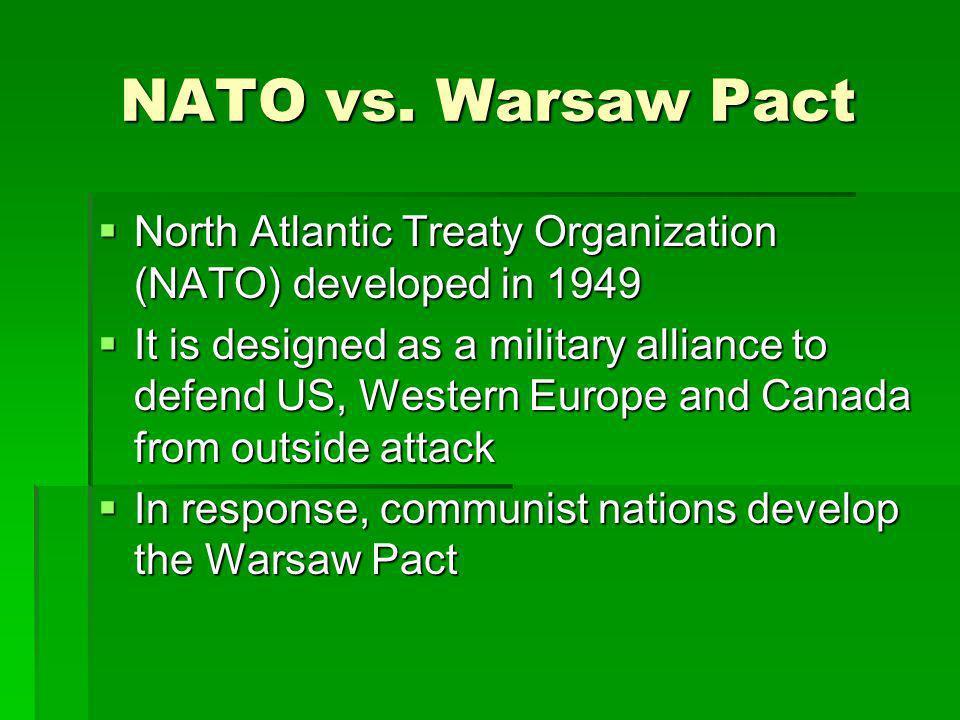 NATO vs. Warsaw Pact North Atlantic Treaty Organization (NATO) developed in 1949.