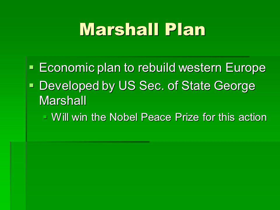 Marshall Plan Economic plan to rebuild western Europe